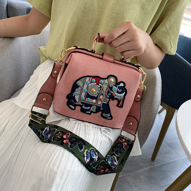 Vintage Embroidered Elephant Tote Bag