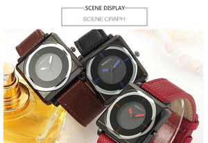 Square Contracted Leather Crystal Watches