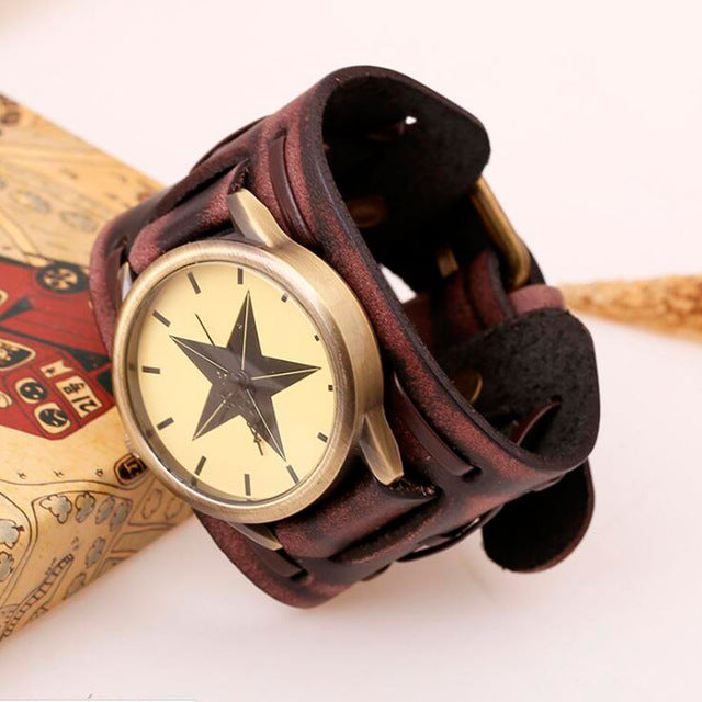 Vintage Wide Cow Leather Bracelet Watch