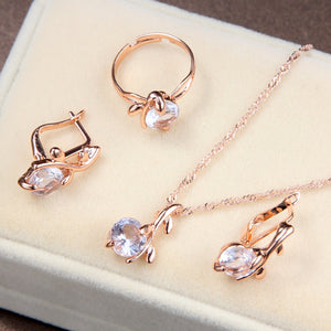 Elegant Gold Color Austrian Crystal Jewelry Set