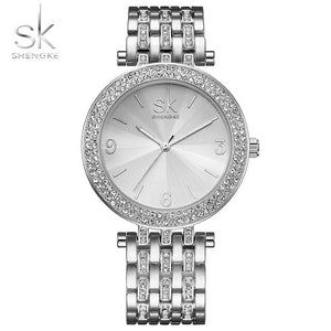Luxury Crystal Sliver Dial Watch