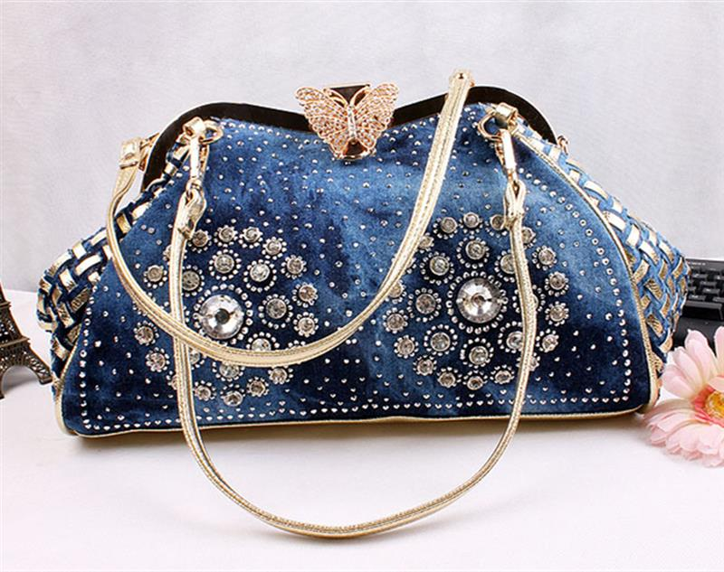 Chic Denim Patchwork Handbag