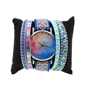 Nebula Quartz Leather Wristwatch