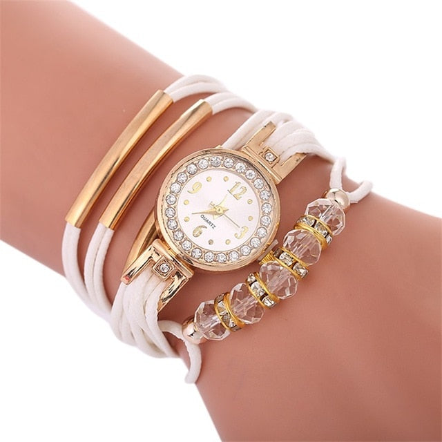 African Gold Rhinestone Beads Watches
