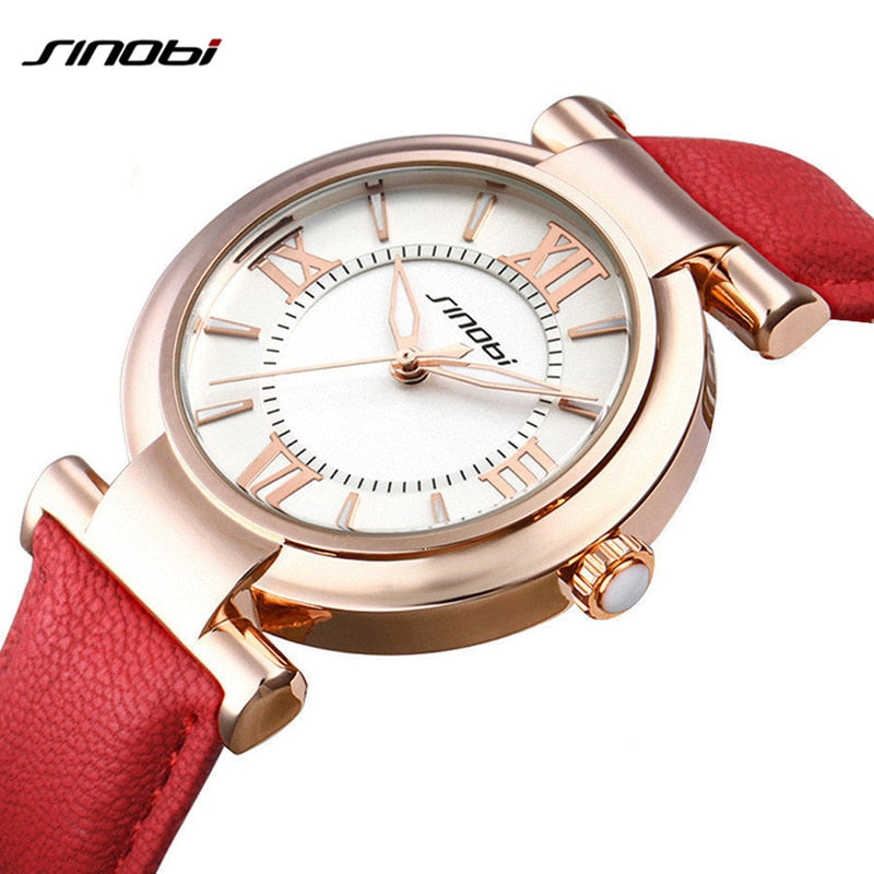 Red/White Leather Watch
