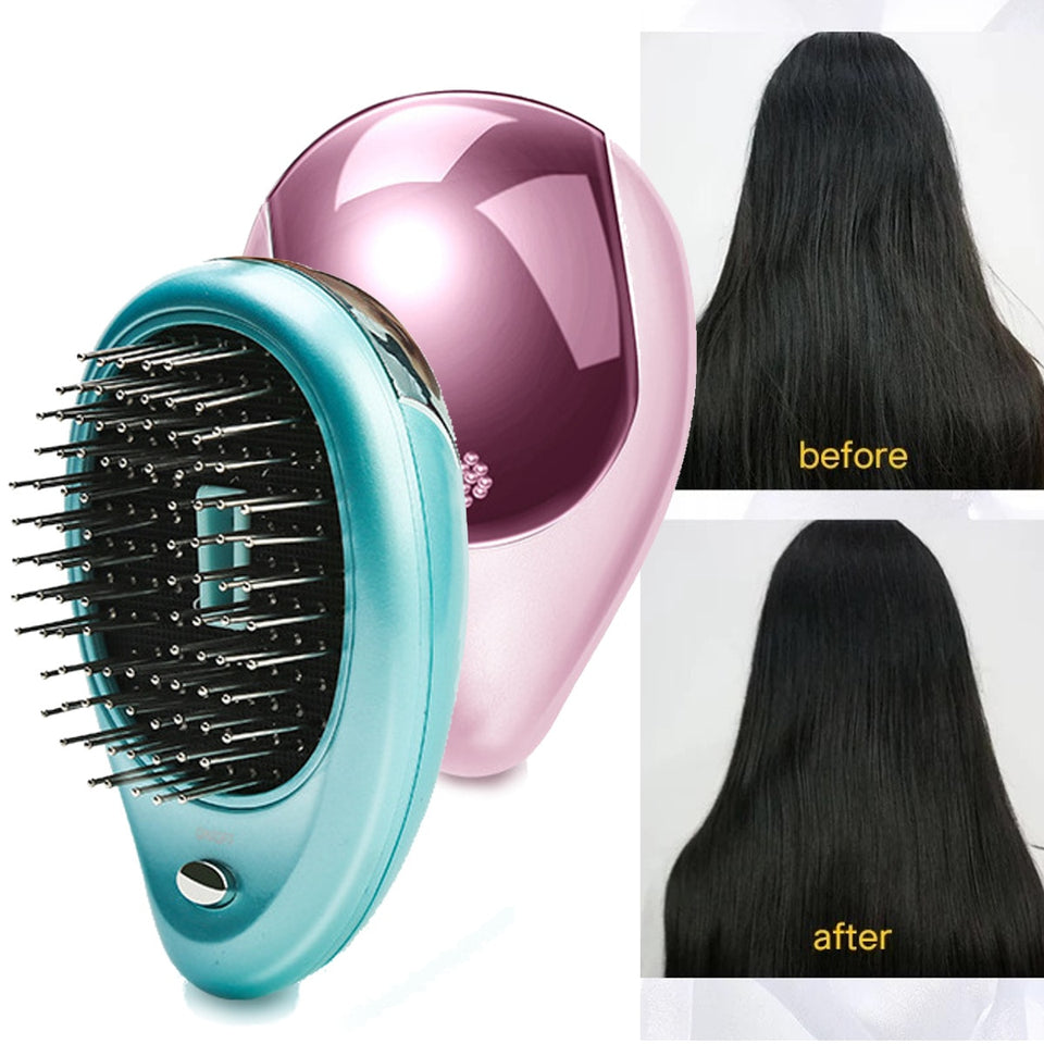 Portable Electric Hair Ionic Brush Straightener
