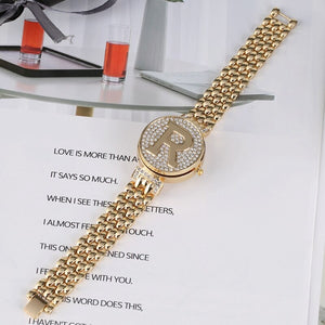 Letter R Crystal Diamond Flip Cover Watch