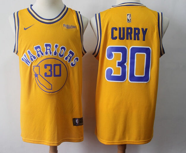 hot sale online c17c0 cfb0a Nike Golden State Warriors #30 Stephen Curry Throwback Jersey Yellow