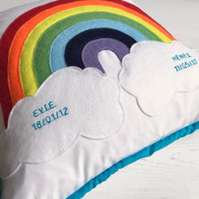 Personalised Baby Cushion With Rainbow