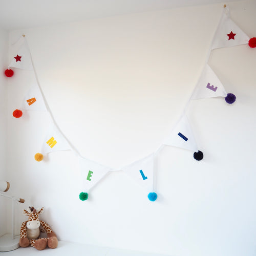 Pom Pom Personalised Name Bunting