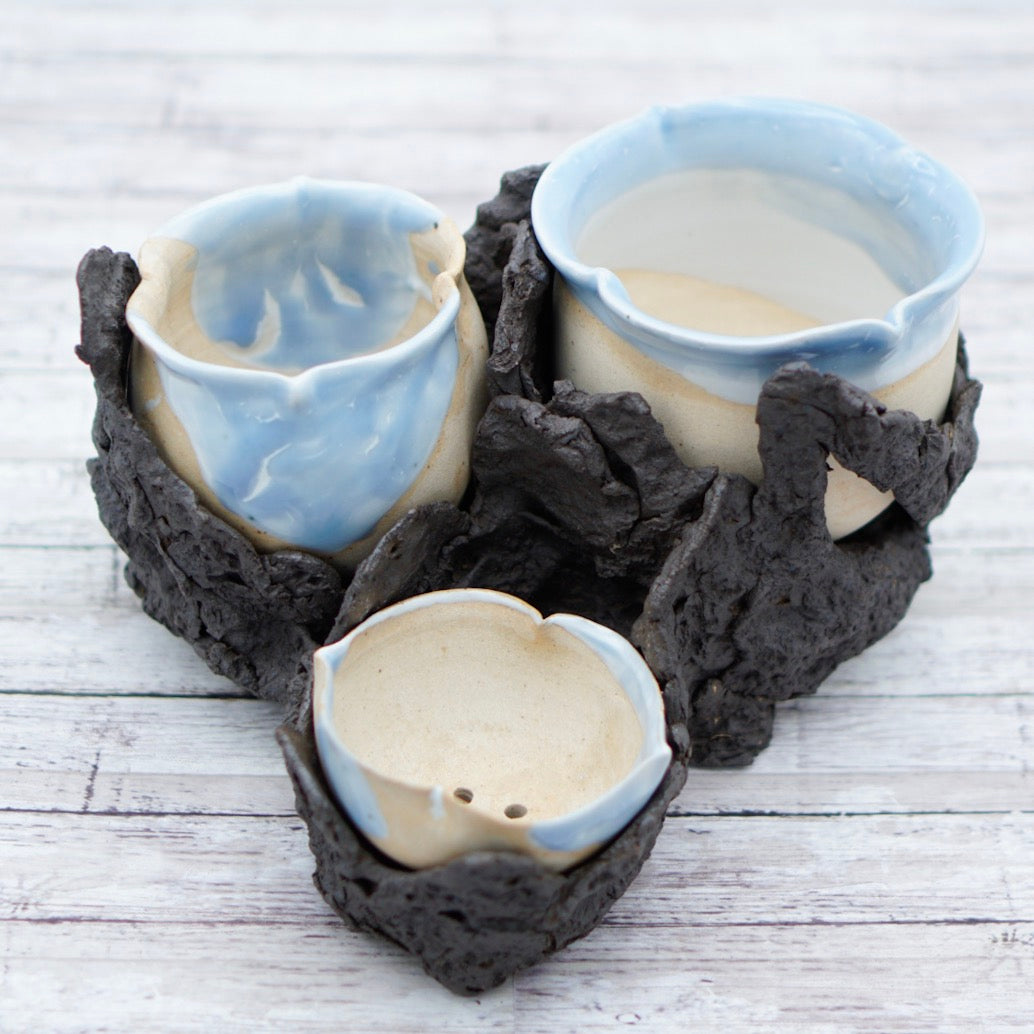 Set of 3 Blue Floral Shaped Planters