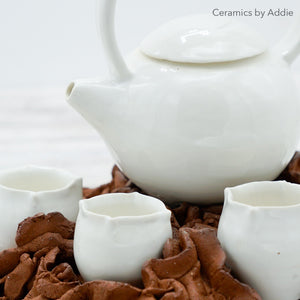 White Desert Rose Tea Set