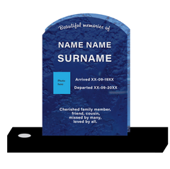Blue curved top headstone template