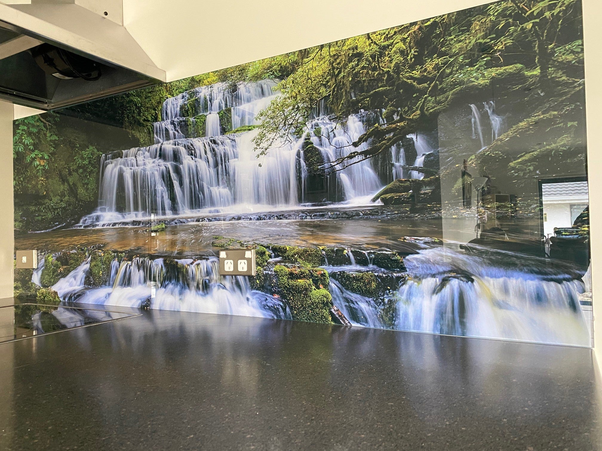 Image picture glass splashback - catlins - purakanui falls - made in new zealand - escape glass