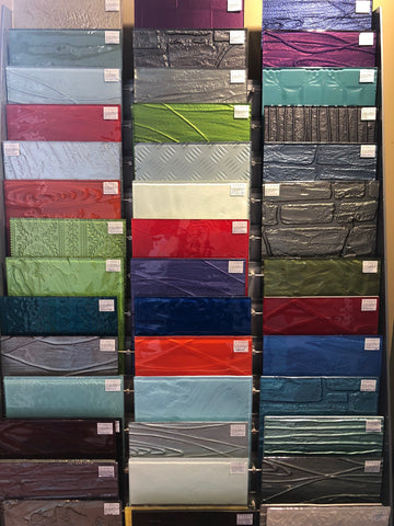 Colour samples in store at escape glass for splashbacks