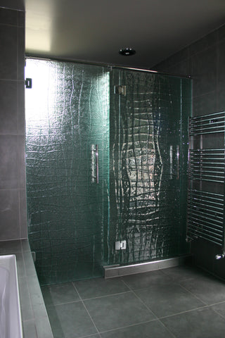 Glass Shower door and walls in slumped textured patterned glass - Escape Glass