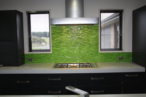 Green slumped patterned splashback