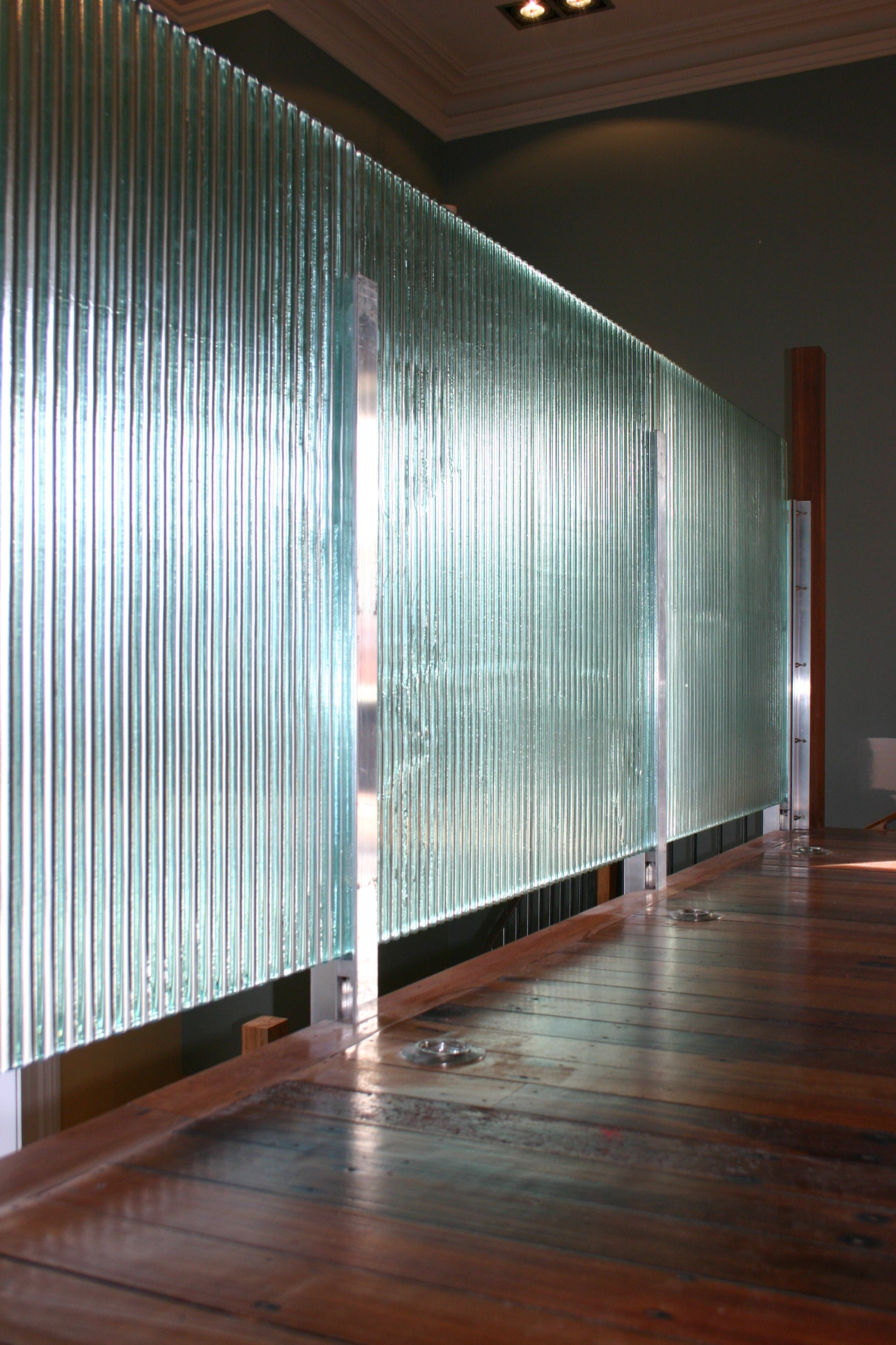 Broad reeded baby corrugate 10mm toughened safety glass - bathroom
