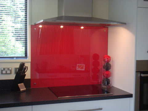 red float glass splashback