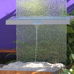 Water feature glass splashback with shelving art installation ellerslie flower show