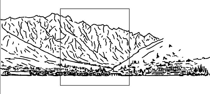 Concept drawing of queenstown new zealand for a slumped glass barn sliding door