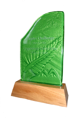 Green fern glass trophy