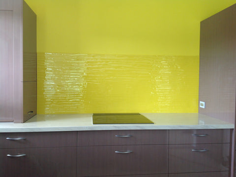 yellow float glass splashback
