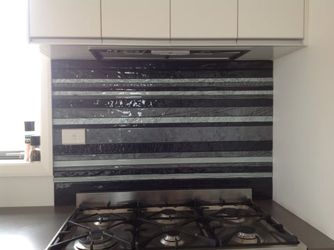 Striped vinyl on glass splash back