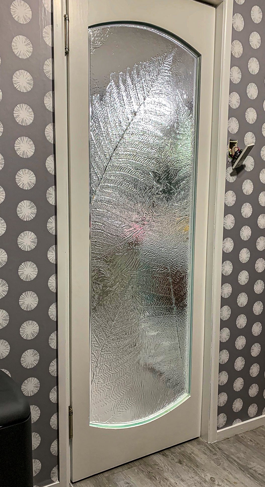 Glass interior slumped door window bespoke panel