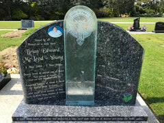 Glass and granite headstone combo NZ