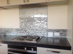 Upstand and custom drawn splashback in grey
