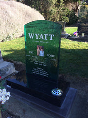Slumped green glass headstone with memorial ceramic plaque made in new zealand by escape glass