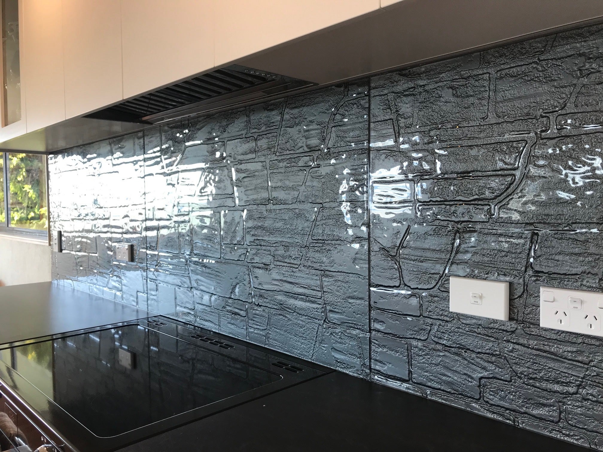 basalt schist glass splashback pattern handmade glass for the kitchen
