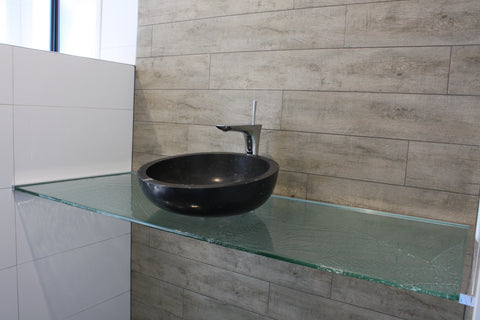 bathroom escape slumped glass vanity