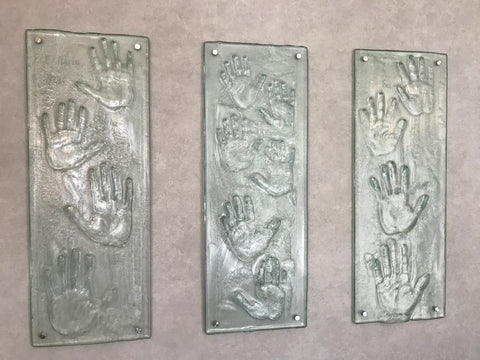 Hand Print panels in slumped glass