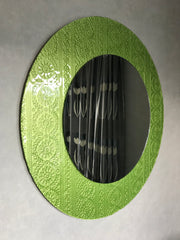 green glass trim mirror