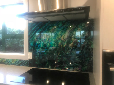 Paua Shell Image on glass splashback custom made by Escape Glass Invercargill