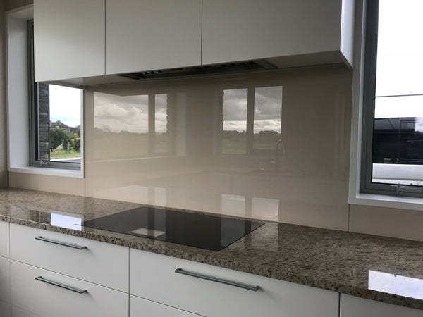 Float flat glass splashback in a neutral custom resene colour