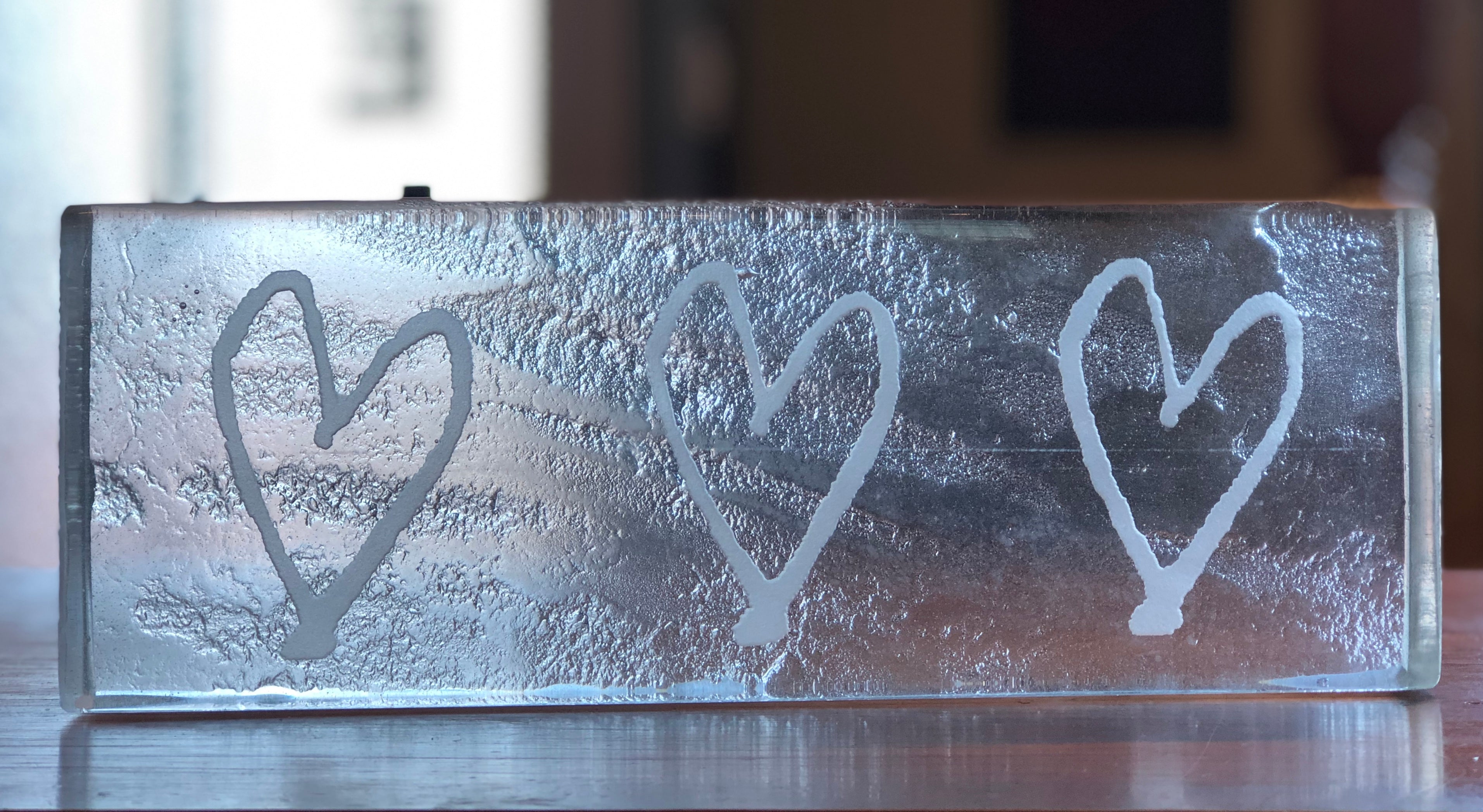 low iron clear glass block etched for headstone