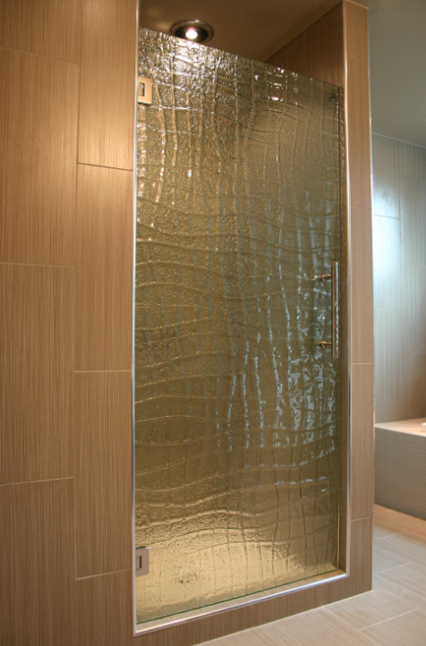 Broad reeded textured patterned fluted or slumped glass shower panels for the bathroom
