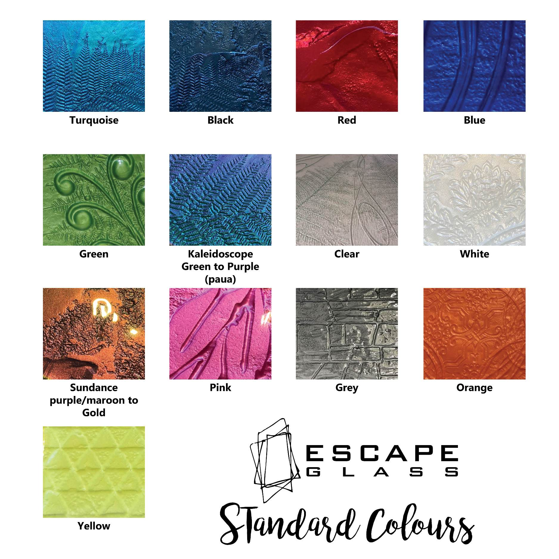 Escape Glass standard platter colours