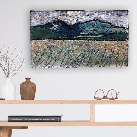 Mountain scape - remarkables - central otago - slumped glass - handmade in new zealand