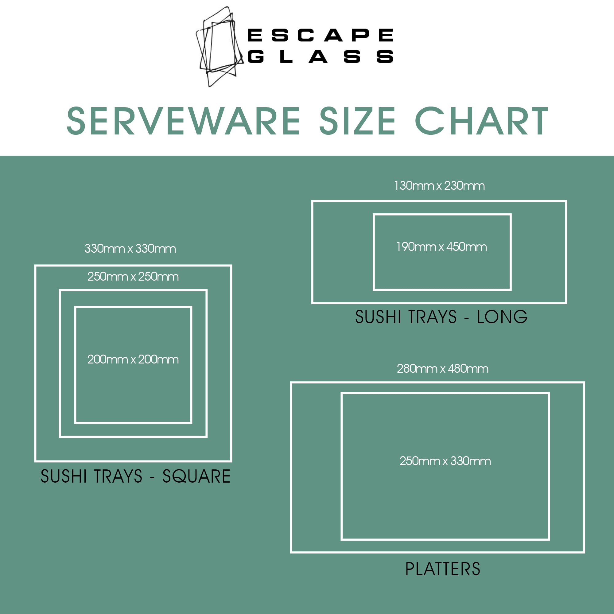 Tray sizing chart for platters and serveware at escape glass invercargill new zealand