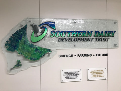 Dairy Hub NZ Glass signage for company