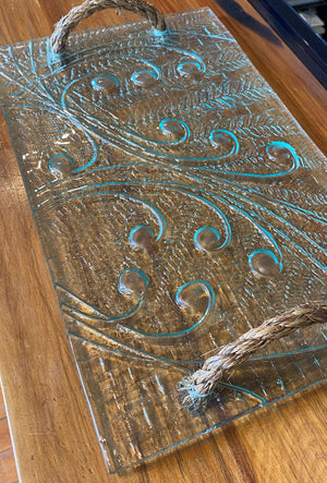 giftware homeware serveware grazing platter rope handle tray glass handmade in New Zealand Koru Fern kiwiana