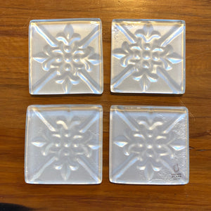 White Pressed Tin Coasters