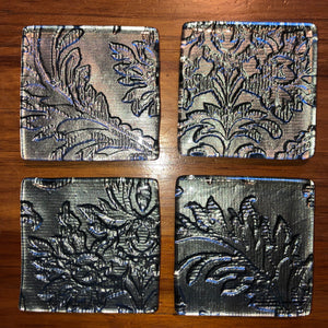 Grey Floral Coasters - Set of 4