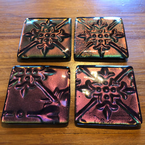Sundance (Purple & Gold) Pressed Tin Coasters - Set of 4