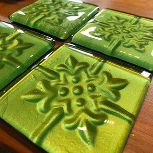 Green Pressed Tin Coasters - Set of 4
