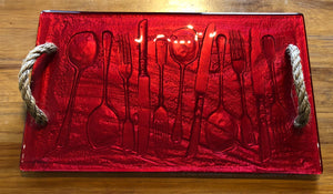 Red Cutlery large Glass print tray serveware platter with rope handles